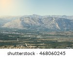 Small photo of Mycenae landscape, some believe that the distant mountain is profile of Agamemnon. Vintage style.