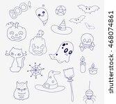 set for halloween in doodle