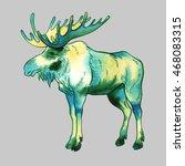 isolated watercolor elk on grey ... | Shutterstock . vector #468083315