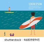 male surfer riding on waves in... | Shutterstock .eps vector #468098945