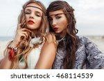Two Beautiful Hippie Girls Wit...