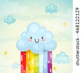 cute cloud with rainbow ... | Shutterstock .eps vector #468122129