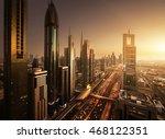 dubai skyline in sunset time ... | Shutterstock . vector #468122351