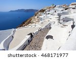 white houses and blue domes of... | Shutterstock . vector #468171977