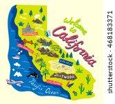 cartoon map of california... | Shutterstock .eps vector #468183371