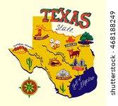 cartoon map of texas.travels | Shutterstock .eps vector #468188249