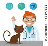 man cartoon cat stethoscope... | Shutterstock .eps vector #468197891