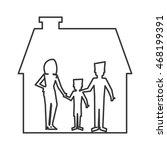 flat design family and house... | Shutterstock .eps vector #468199391