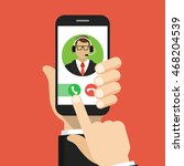 hand holding smartphone to call ... | Shutterstock .eps vector #468204539