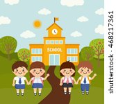 kids go to school. vector... | Shutterstock .eps vector #468217361