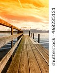 wooden jetty lake chiemsee ... | Shutterstock . vector #468235121