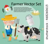 a set of farmer cartoon... | Shutterstock .eps vector #468260615