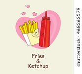 french fries and ketchup ... | Shutterstock .eps vector #468263579
