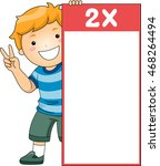 illustration of a little boy... | Shutterstock .eps vector #468264494