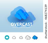 overcast color icon  vector...