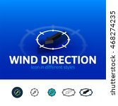 wind direction color icon ...