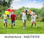 four smiling kids happily...   Shutterstock . vector #468276554