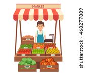 farm shop. local stall market.... | Shutterstock .eps vector #468277889