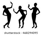 girl silhouettes taking selfie... | Shutterstock .eps vector #468294095