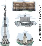 set of sights in moscow  russia ... | Shutterstock .eps vector #468297737