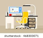 work desk with a computer ... | Shutterstock .eps vector #468303071