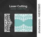 laser cut card. template for... | Shutterstock .eps vector #468305885