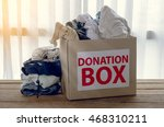 clothing donation box on wooden ... | Shutterstock . vector #468310211