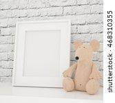 white photo frame mock up in... | Shutterstock . vector #468310355