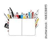 notebook and art materials on... | Shutterstock .eps vector #468328895