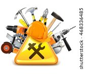 vector construction tools with... | Shutterstock .eps vector #468336485