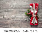 christmas table place setting.... | Shutterstock . vector #468371171