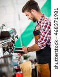 smiling employed pours coffee... | Shutterstock . vector #468371981
