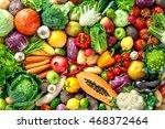 assortment of  fresh fruits and ... | Shutterstock . vector #468372464