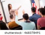female professor explain to...   Shutterstock . vector #468378491