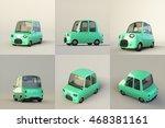 cute stylized mint cartoon car... | Shutterstock . vector #468381161
