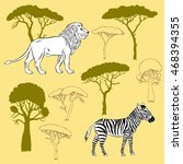 lion  zebra and savanna trees.  ... | Shutterstock . vector #468394355