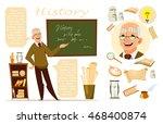 history lesson. history teacher.... | Shutterstock .eps vector #468400874