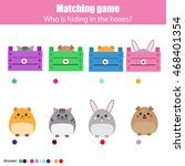 Stock vector matching children education game kids activity match animals with box 468401354