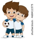 cartoon soccer kids.two... | Shutterstock .eps vector #468411575