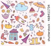 set of hand drawn autumn icons. ... | Shutterstock .eps vector #468411734