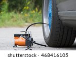Small photo of The air compressor to inflate automobile wheels