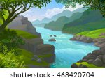 the lonely boatman in a calm... | Shutterstock .eps vector #468420704