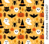 halloween seamless pattern... | Shutterstock .eps vector #468423167