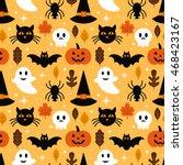 halloween seamless pattern... | Shutterstock .eps vector #468423167