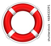 lifebuoy with stripes and rope  ... | Shutterstock . vector #468433391