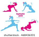 gymnastic poses for pregnant... | Shutterstock .eps vector #468436331