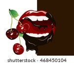 fresh red cherries in beautiful ...   Shutterstock .eps vector #468450104