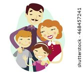 family colorful happy cartoon... | Shutterstock .eps vector #468457241