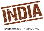 india stamp. brown square india ... | Shutterstock .eps vector #468470747