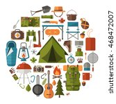 hiking icons set. camping... | Shutterstock .eps vector #468472007